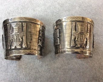 Vintage Sterling Mayan matching cuff bracelets