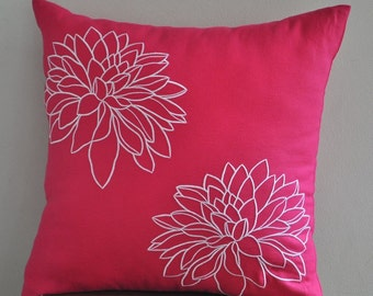 Fuchsia Pink Flower Pillow Case, Fuchsia Pink Linen White Flower, Embroidered, Floral Pillow Cover, Cushion Cover, Contemporary pillow