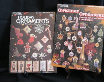 Christmas Tree Ornaments to knit, crochet, cross stitch, needlepoint, Leisure Arts leaflets 107 and 180 from 1977, 1980, dozens of designs