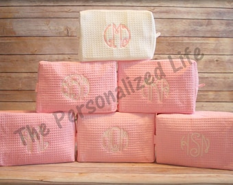 Set of 6 Cosmetic Bags - Personalized 3 Letter Monogram Waffle Weave Make Up Bag Bridesmaid Gift Wedding Gift