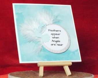 Handmade sympathy card dove and feathers for male,female,boy or girl