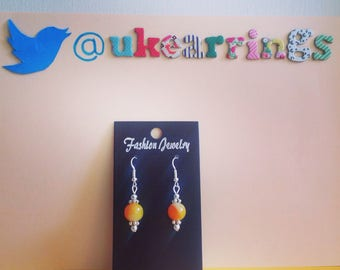 Orange and yellow mix bead drop earrings with tibetan silver spacers