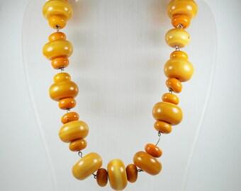 Minimalist Sterling Silver Orange Ceramic Patterned Beaded Necklace
