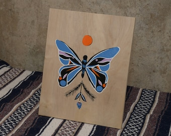 Butterfly Floral Painting on Wood
