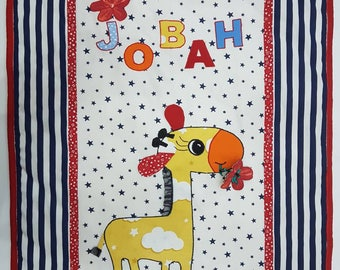 Baby blanket personalized, minky and cotton - Miss Giraffe
