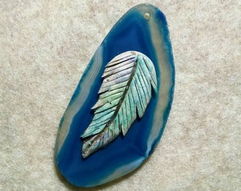 Feather Pendant, Blue Agate Slice, Polymer Clay Jewelry Supplies, Pendant, Man or Woman, Southwestern