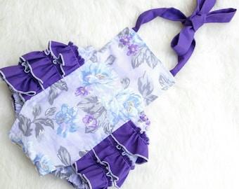 Baby Bubble Romper - Purple Romper - Roses - Lavender - Baby Girl Romper - Toddler Romper- Ruffles - Vintage look - Sunsuit - Photo Prop -