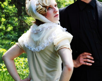 Victorian High-neck Collar Blouse (Cottage Tea Cotton & Eco-Friendly Silk) xs, s, m, l, or xl