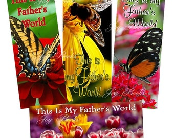 This Is My Father's World Set of 4 Printed Hymn Bookmarks w Song Lyrics Spring Gift Card Insert  Womens Ministry Vintage Verses Butterflies