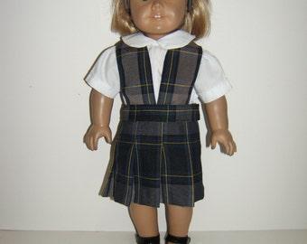 18 inch doll School Uniform Split Bib Jumper Plaid 87
