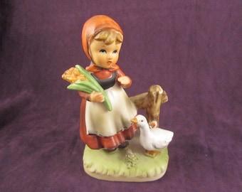 Hummel like Figurine Girl with Duck