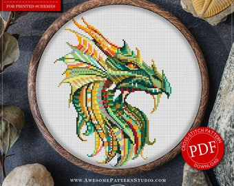 Mandala Dragon Cross Stitch Pattern for Instant Download *P228 | Lovely Cross Stitch| Room Decor| Needlecraft Pattern| Easy Cross Stitch