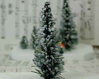 "Snowy Evergreen Tree - 4"" - Set of 3 miniature  doll house tree miniature tree fairy garden diorama mini trees tree set - 218-0404"