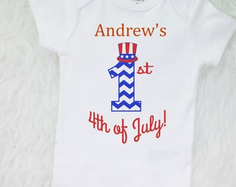 Boy's 1st 4th of July Bodysuit !! Baby's First 4th of July  Independence Day First Independence Day 1st Fourth t-Shirt ANY NAME