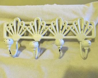 Vintage Shabby Chippy White Wrought Iron Coat Hat Rack