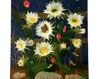 "original oil painting by portrait artist and sculptor Dr. Valerie Bloomfield-Ambrose entitled ""One Night Stand"" - Night Blooming Cereus ."