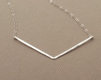 Silver Chevron Necklace, Sterling Silver, Hammered Chevron Bar Necklace, Silver V Necklace, Hammered V Necklace