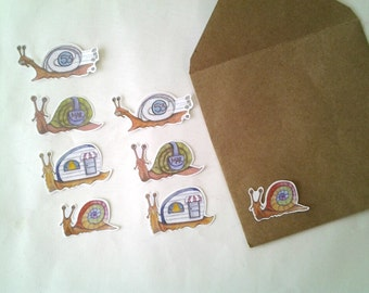 Snail Stickers, unique hand cut art stickers, snail sticker set