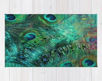 Peacock Feather Abstract  Rug, Throw or Area , Woven Dobby