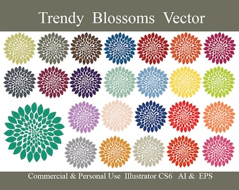Trendy Vector Blossoms Clip Art // Illustrator CS6 AI and EPS commercial use Cu flower, bloom, floral