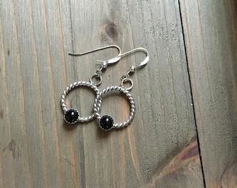 Handmade Onyx Rope drop earrings
