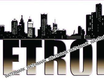 Detroit Skyline  Sticker/Decal