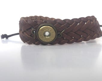 Leather bracelet bullet jewelry