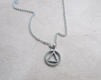AA Necklace, Recovery Jewelry, Alcoholics Anonymous Jewelry, AA Jewelry, Sobriety Circle and Triangle Jewelry, Ashley Judd Necklace