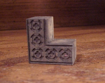 Vintage Border Corner Wooden Print Block with Cross in Circle Pattern, Small, Home, Industrial Decor, Letterpress, L Shaped, Wood