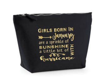 Month Birthday Gift, Make Up Case, January February March April May June July August September October November December, Cosmetic Bag