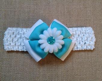 Baby Girl Headband, Infant Headband, Flower Headband, Turquoise Headband, Baby Hair Accessory, Baby Headband, Girls Hairbow, Teal Hairbow