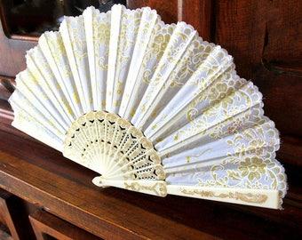 Hand Fans, hand fan, Abanico, weddingfan,ivory-gold lace