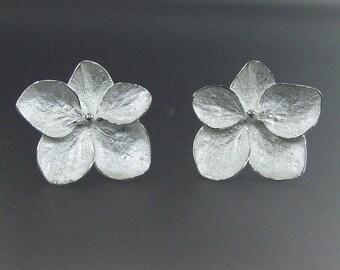 Sterling Silver Flower Earrings, Hydrangea Earrings, Botanical Earrings, Post Earrings, Made to order