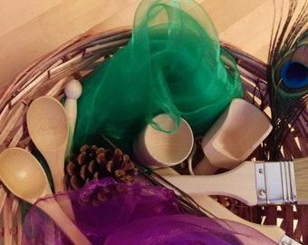 Treasure basket- wooden -sensory - heuristic- Montessori - 14 items in basket