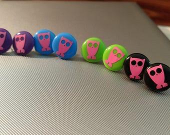 Button Style Owl Earrings