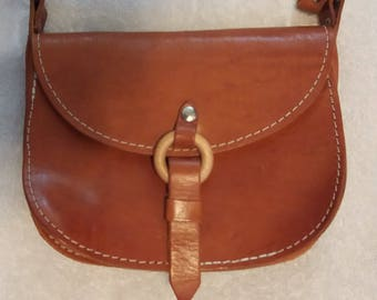 Vintage Small Leather Adjustable strap Purse Pocketbook 2 compartments