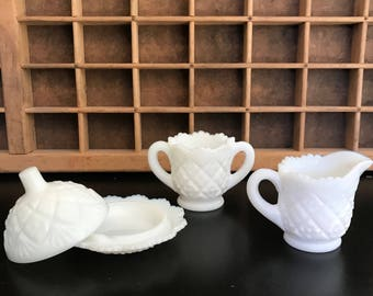 Vintage Westmoreland Milk Glass Thumbelina sugar bowl, creamer and covered round butter dish