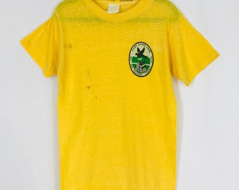 Vintage Boy Scout T Shirt Camp Raven Knob 1981 Youth Small Gold Yellow 80s Scout Camp Made In USA Summer Camp North Carolina NC