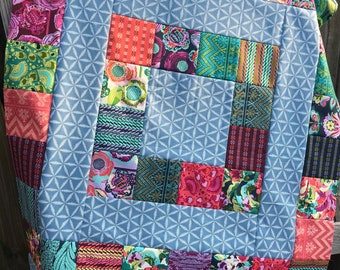Modern  quilt TOP - UNFINISHED 46 x 37 inch patchwork,Free Spirit Bright Hart by Amy Butler, teal, slate blue, purple, green, wall hanging