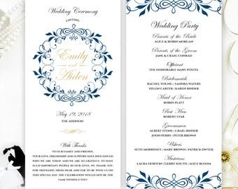 Wedding ceremony programs   Royal blue and gold programs for wedding printed on shimmer cardstock   Classy wedding program