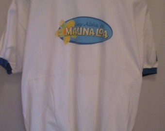 vintage,'say aloha to'  MAUNA LOA 'taste of the islands' macadamia nuts promotional ringer T shirt size XL