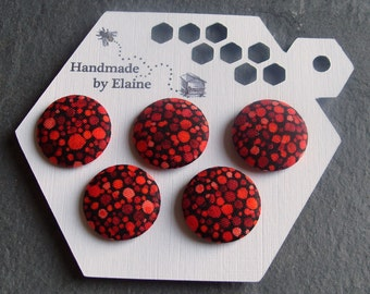 Fabric Covered Buttons - 5 x 22mm Buttons, Handmade Button, Red Crimson Scarlet Cherry Berry Poppy Pomegranate Polka Dot Spot Buttons, 2524