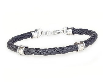 BLACK Braided Leather Bracelet for Men, Leather and Silver Bracelet for Women, Mens Leather Bracelet, Womens Leather Bracelet, Mens Bracelet