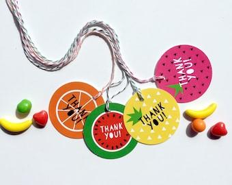 Tutti Frutti Favor Tags, Yellow, Tutti Frutti Birthday, Fruit Party