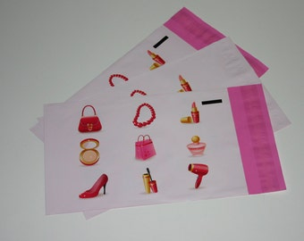 100 6x9 Poly Mailers Pink Make Up Design Self Sealing Envelopes Shipping Bags