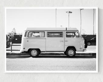 California Print, VW Print, Black and White Photo, California Photo, Volkswagon Print, VW Digital Print, VW Printable, California Poster