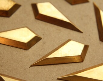 2 pc. Raw Brass 3D Rhombus Stampings: 47mm by 21mm - made in USA | RB-873