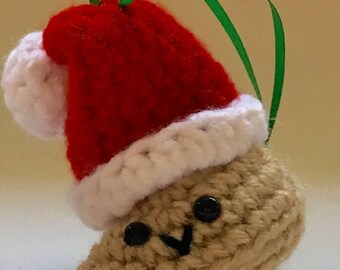 Amigurumi Fortune Cookie Christmas Ornament, fortune cookie, gift for all, cookie, handmade ornament, gifts under 15 dollars