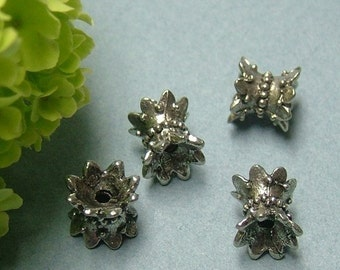Set of 4 Antique Silver Double Sided Crown Bead Caps - 7 mm