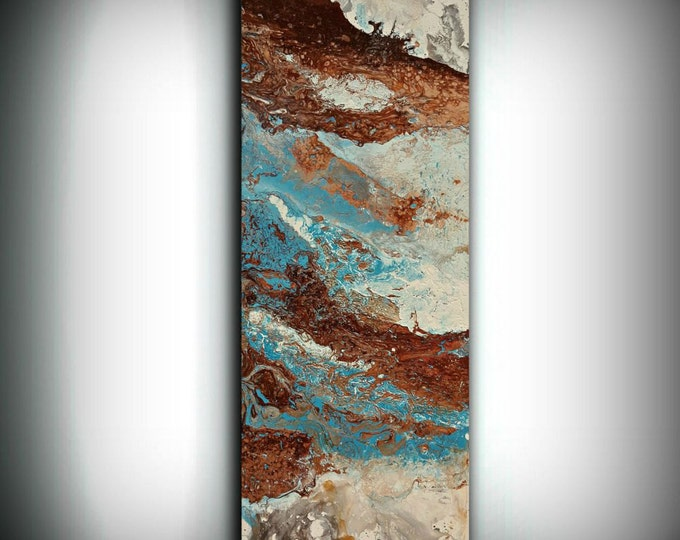 ORIGINAL Painting, Art Painting Acrylic Painting Abstract Painting, Blue and Copper Wall Hanging, Small Wall Art, Modern Wall Decor 16 x 40